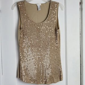 Chico's women's sequin knit crocheted tank top